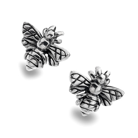 Oxidised Sterling Silver Bee Stud Earrings from the Earrings collection at Argenteus Jewellery