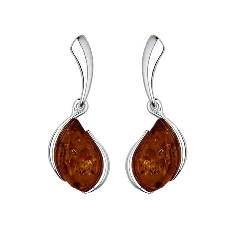 Amber Flame Drop Earrings from the Earrings collection at Argenteus Jewellery