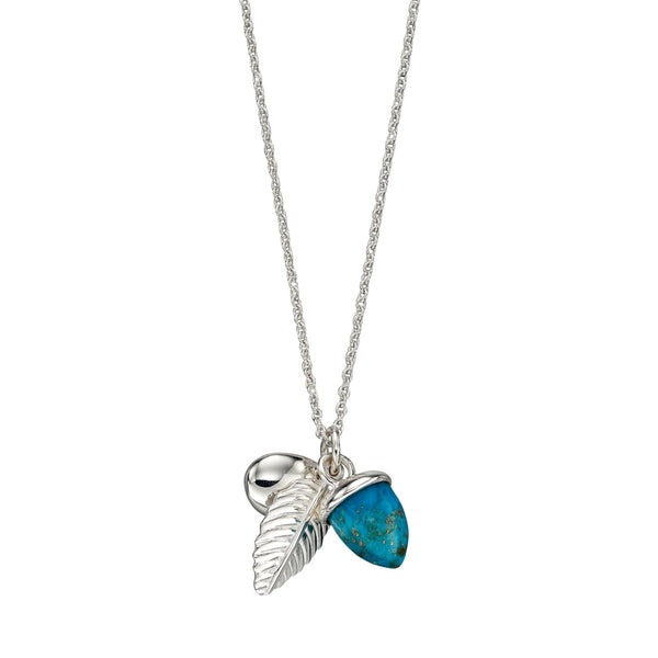 Acorn and Leaf Necklace - Turquoise from the Necklaces collection at Argenteus Jewellery