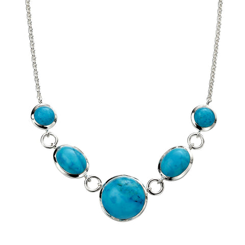 Turquoise Circle and Oval Necklace