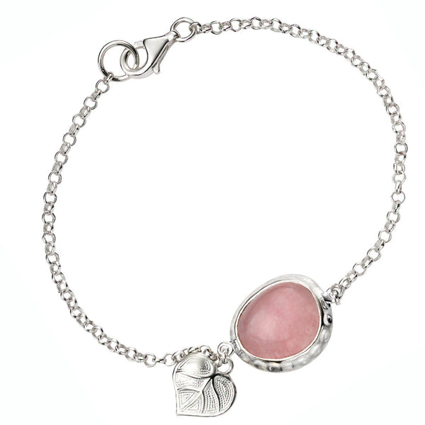 Leaf and Pink Jade Bracelet from the Bracelets collection at Argenteus Jewellery