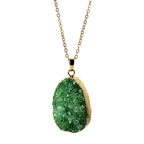 Gold-plated Green Druzy Oval Necklace