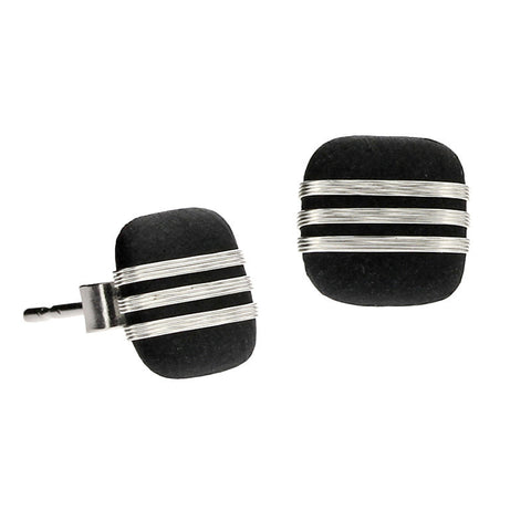 Tracey Birchwood - 9mm Square Fine Bands Stud Earrings
