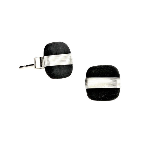 Tracey Birchwood - 9mm Square Wide Band Stud Earrings