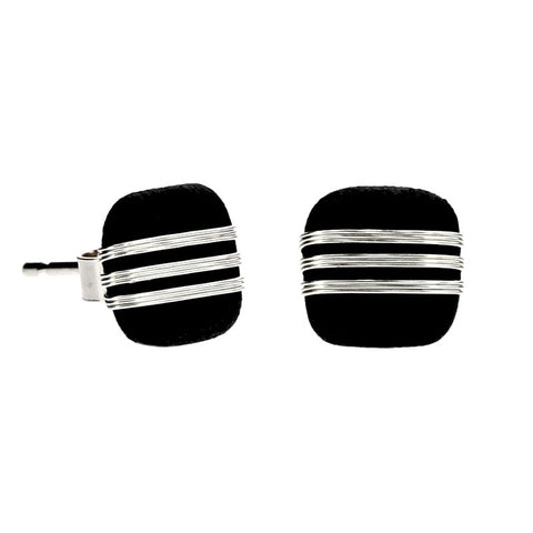 Tracey Birchwood - 7mm Three Band Square Stud Earrings