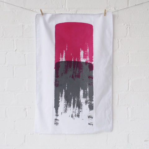 Tea towel: grey/magenta
