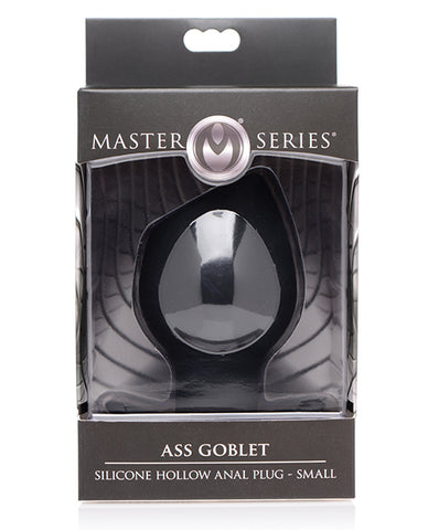 Master Series Ass Goblet Silicone Hollow Anal Plug Small - Black