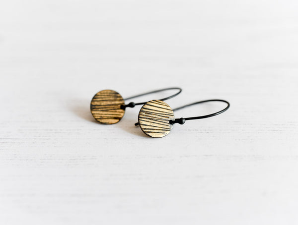 striped sun oxidized fine silver and fused gold earrings by Kathi Roussel