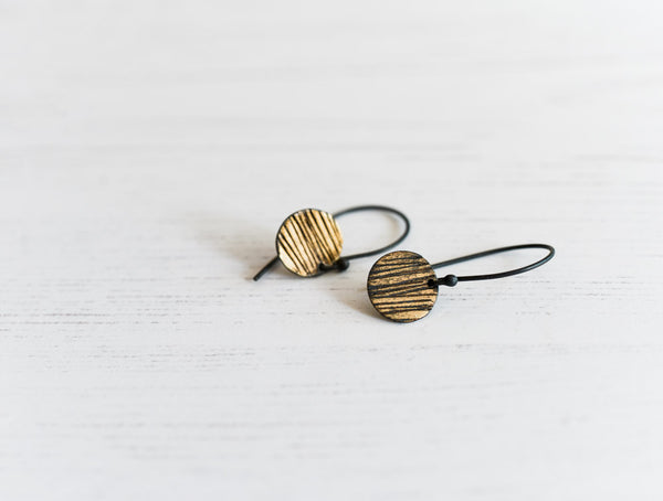 striped sun textured handmade oxidized fine silver and fused gold earrings by Kathi Rousselt