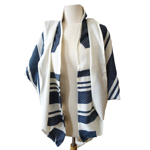 Navy Blue Stripes Traditional Woven Tallit Gadol