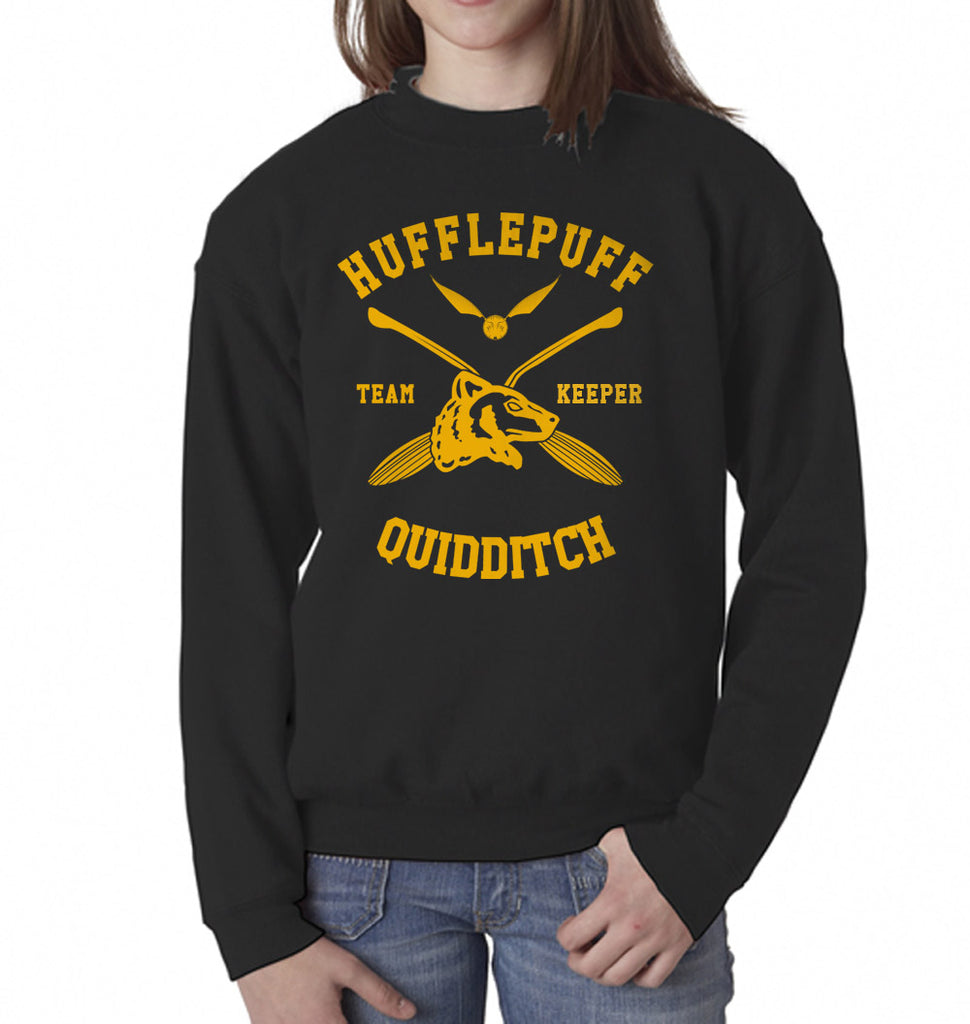 Hufflepuff KEEPER Quidditch Team Kid / Youth Crewneck Sweatshirt PA New