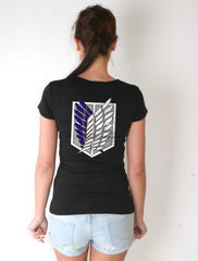 Attack on Titan Blue Ink On BACK Singeki no Kyojin Women T-shirt - Meh. Geek - 1