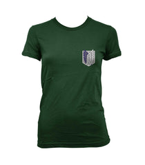 Attack on Titan Blue Ink POCKET On FRONT Singeki no Kyojin Women T-shirt - Meh. Geek - 2