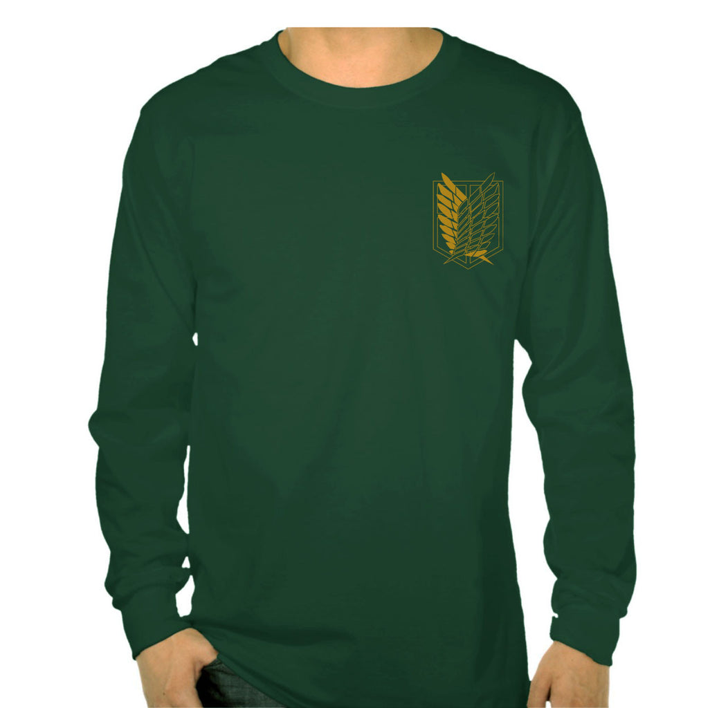 Attack on Titan YELLOW Ink On Front POCKET Singeki no Kyojin Long Sleeve T-shirt for Men - Meh. Geek