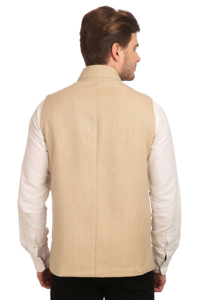Tweed Beige Nehru Jacket
