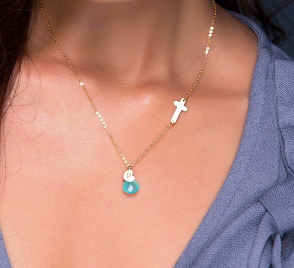 Personalized Small Sideways Cross and Birthstone Necklace