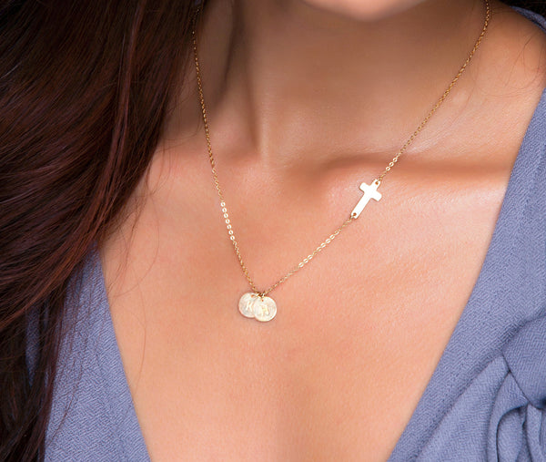 Initials Charm and Sideways Cross Necklace
