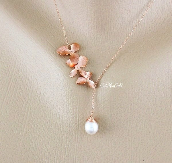 Rose Gold Trio Orchid Lariat