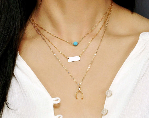 Triple Layer Bead Wishbone and Mini Bar Necklace