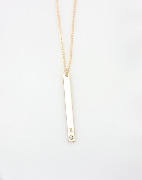 Long Skinny Vertical Bar Crystal Necklace