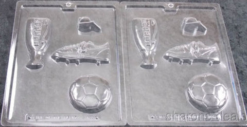 Set 2 Soccer Chocolate Mold Cybr Trayd 3D Molding S100 Trophy Cleat Ball Whistle - FUNsational Finds - 1