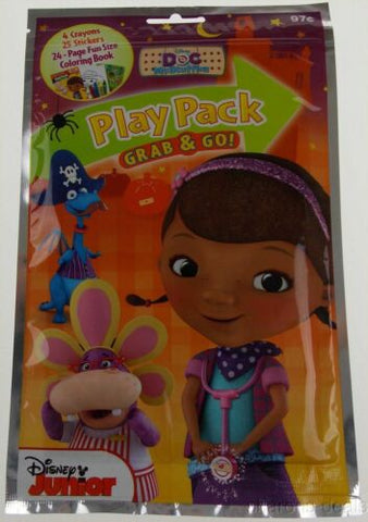 Set 12 Disney Junior Doc McStuffins Play Pack Grab Go Coloring Book Crayons