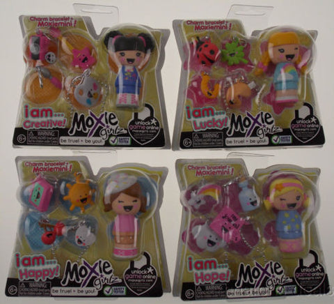 Lot 4 Moxie Girlz Charm Bracelet & Moxiemini I AM LUCKY HAPPY CREATIVE HOPE NEW - FUNsational Finds - 1