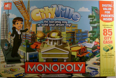 Monopoly CityVille Hasbro Board Game Zynga Sealed Property Trading Building - FUNsational Finds - 1