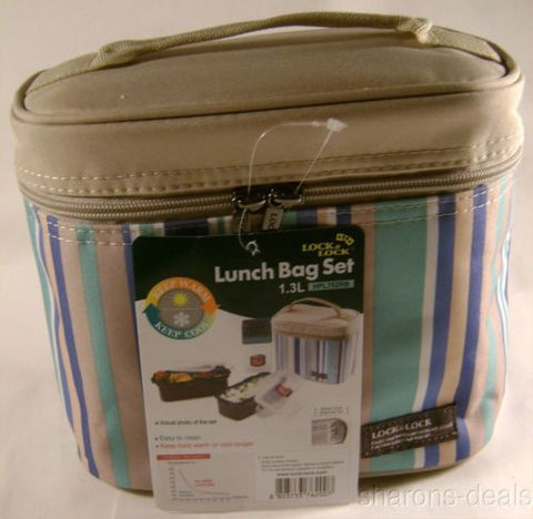 Lock & Lock Blue Tan Thermal Double Zip Bag Lunch Box HPL762RB Bottle Containers - FUNsational Finds - 1