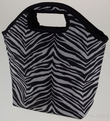 Uncle Jerrys T's Zebra Pattern Tote Hand Bag Insulated Lunch Black White Zipper - FUNsational Finds - 1