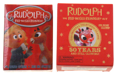 Rudolph Red Nosed Reindeer Light Up Figurine Book Stickers Playing Cards Set 2