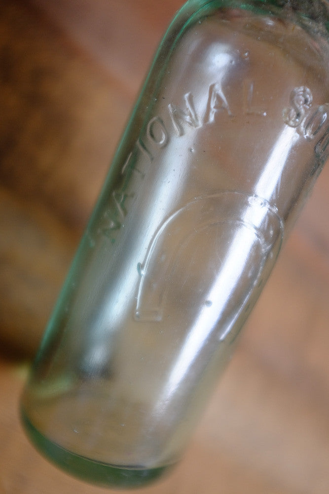 Antique Blown Green Glass Bottle Detail