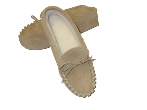 Brown Leather Moccasin Slipper Hard Sole | Paul