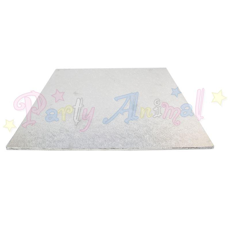 SQUARE Hardboard Cake Board - Silver Foil - SINGLE BOARD - Choose Size