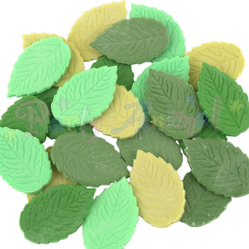 Party Animal Edible Green Rose Leaves - Mixed Green - Pack of 24