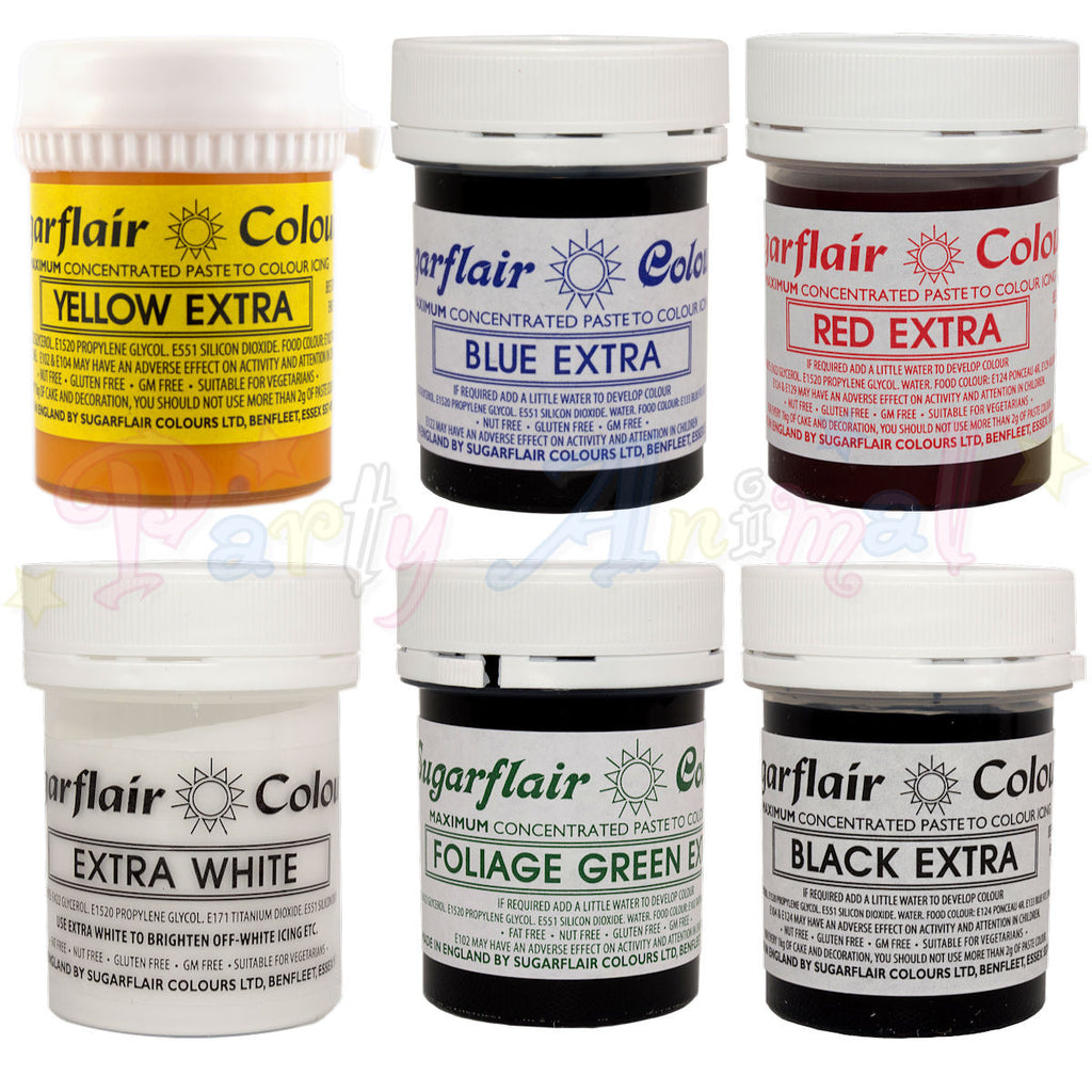 Sugarflair Extra Concentrated Paste Food Colouring - Complete Set of 6