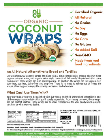 Coconut Wraps, 5 Pack