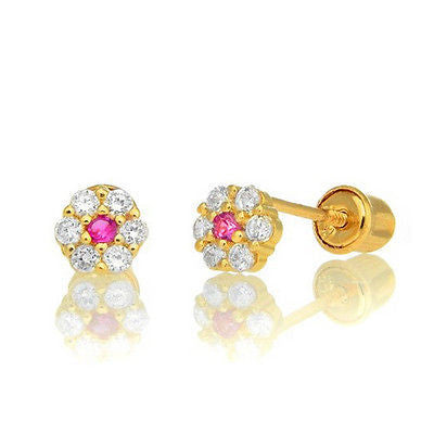14k Yellow Gold Baby White Pink Cz Flower Petals Halo Earrings Screw Back Studs