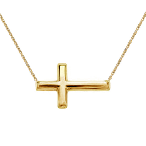 14K Gold Sideways Cross Necklace Adjustable Chain 16-18 inches