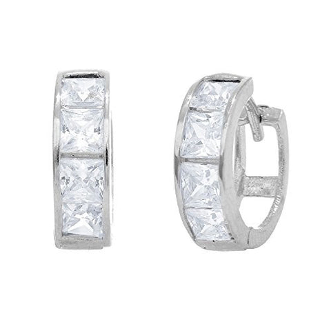 14K Real White Gold CZ Princess Cut Huggie Huggy Baby Hoops Earring 3x9mm