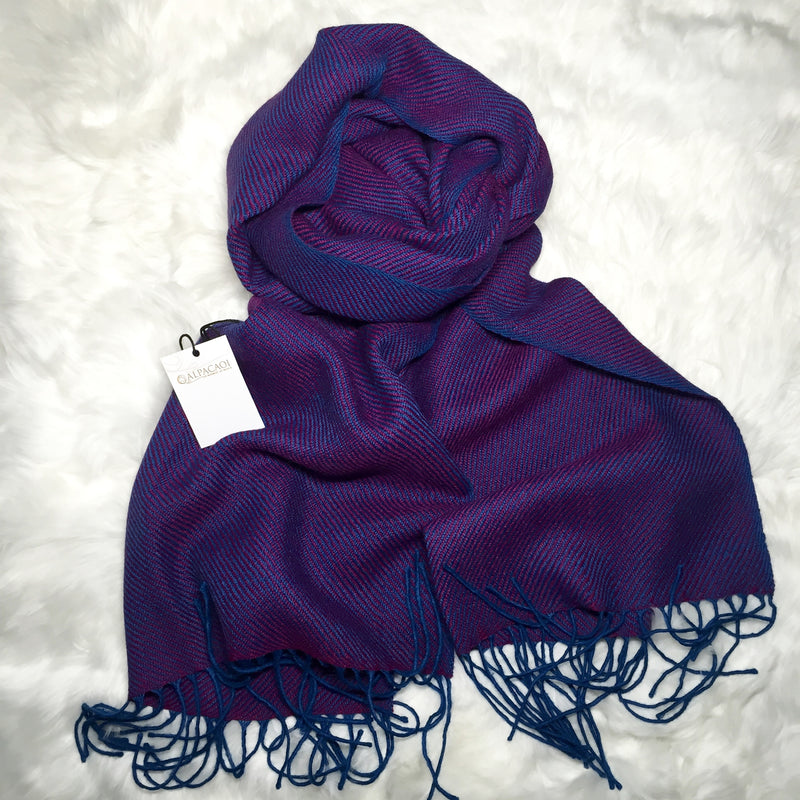 Alpaca shawl purple and royal blue made of 100% Peruvian alpaca wool