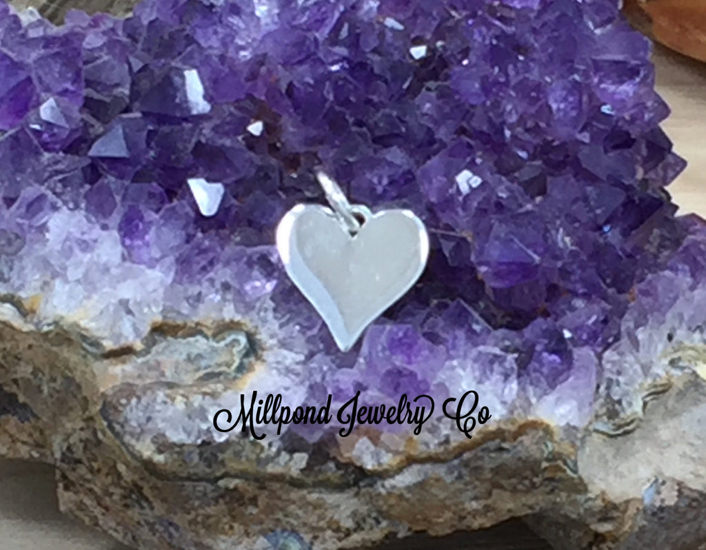 Heart Charm, Heart Pendant, Heart Stamping Blank, Sterling Silver Heart Charm, PS01642