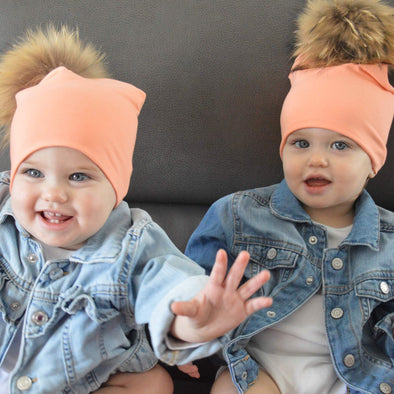 Tuque en Coton pour Enfant | Cotton Beanie for Kid - Saumon Kardashian - Mpompon