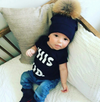 Tuque en Coton pour Enfant | Cotton Beanie for Kid - Noir - Mpompon