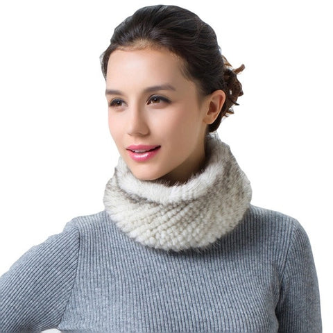 Knitted Mink Neck Warmer/Headband