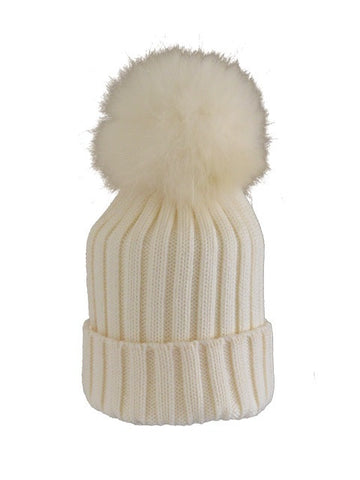 Ivory * Matching Pom * Ribbed Knit Hat