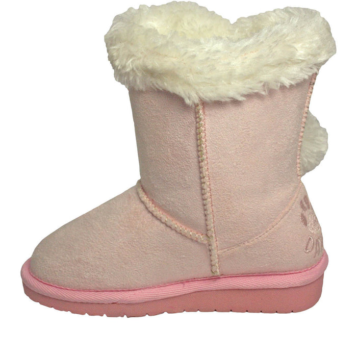 Girls' Side Tie Microfiber Boots - Pink