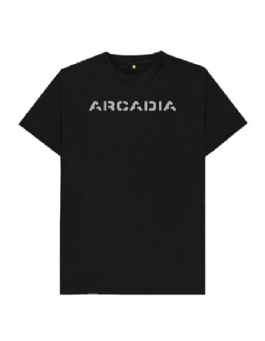Arcadia T-shirt - Black with Sparkly Silver (Big Logo)