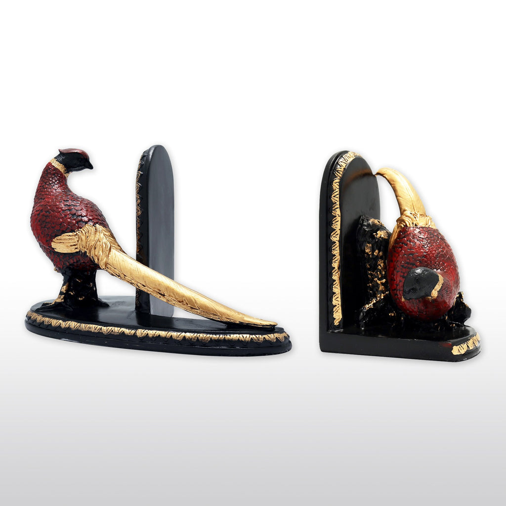 Bookends - Cast Resin Red Bird Bookends In Pair, Hand Painted