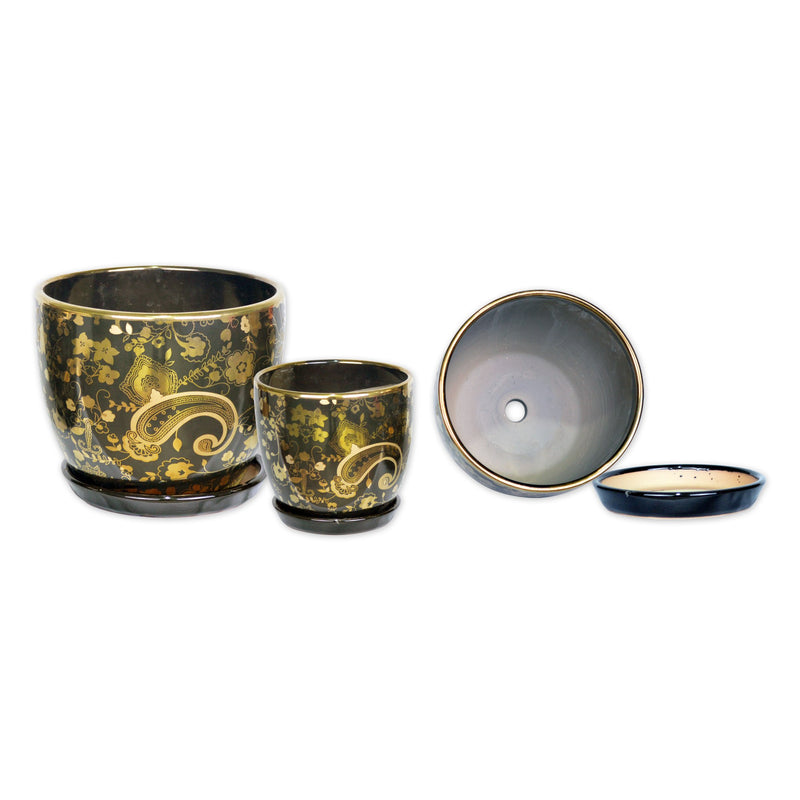 Ceramic Planters - A Trio Of Ceramic Planter With Tray Gold Plated In Black